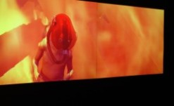 Miao Xiaochun's video work Microcosm makes use of three dimensional technology